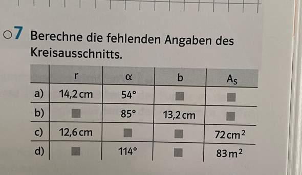 Wie berechne ich ein Flächeninhalt (A) sowie den Radius (r) eines Kreisauschnitts wenn nur der alpha Winkel und die Bogenlänge (b) bekannt ist?
