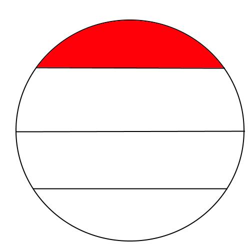 Wie berechnet man den oberen Viertel eines Kreises? (Mathe..