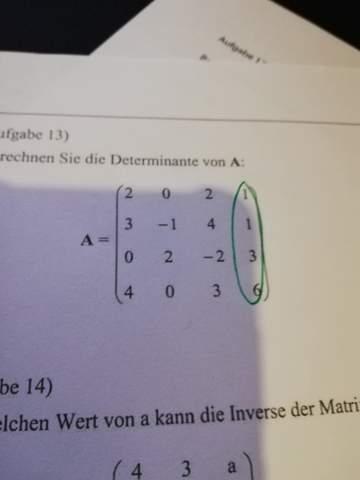 Wie berechnet man die Determinanten einer 4x4 Matrix?
