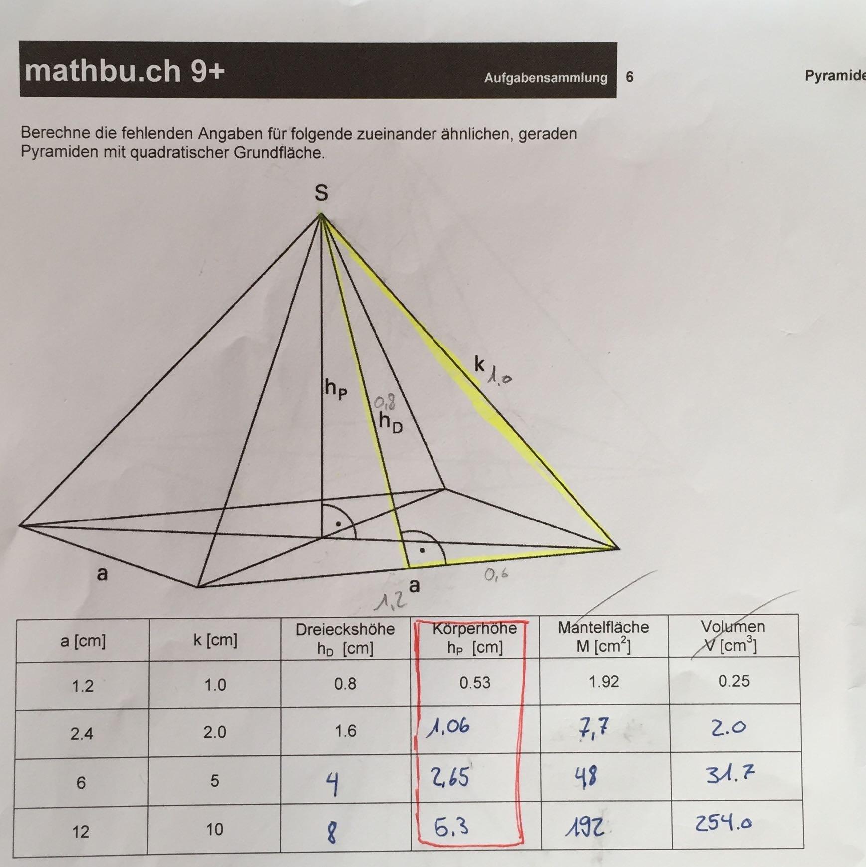 wie berechnet man die k rperh he f r eine pyramide mit quadratischer grundfl che mathematik. Black Bedroom Furniture Sets. Home Design Ideas
