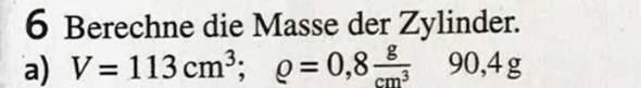 Wie berechnet man die Masse eines Zylinder?