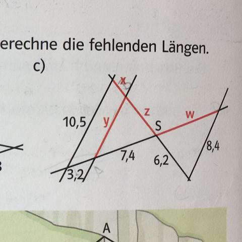 Wie berechnet man hier die fehlenden Längen (Strahlensätze,Formel, Mathe)?