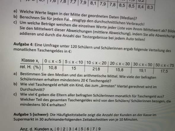 - (Schule, Statistik, Mathematikaufgabe)