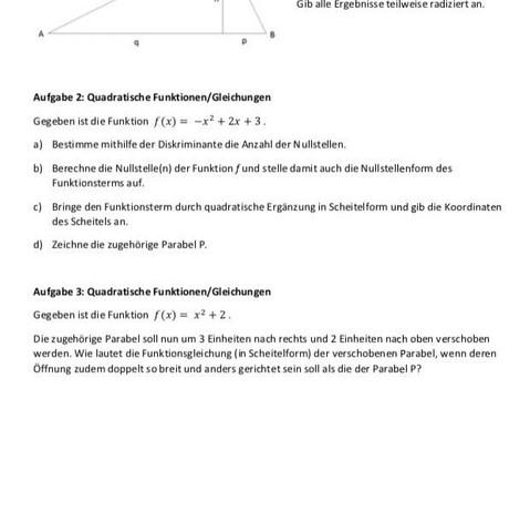Aufgabe  - (Mathe, Mathematik, Nullstellen)