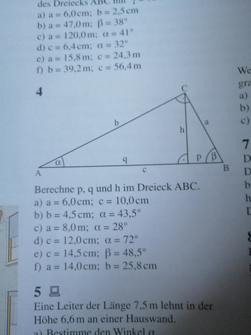 Wie berechnet man P, q und h im Dreieck ABC?