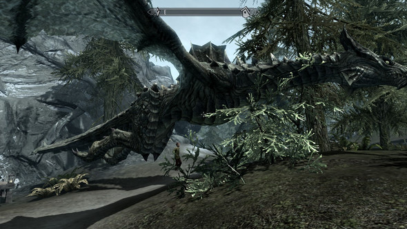 So sieht dieser halbtoter Drache ohne Inventarsinhalt aus - (Skyrim, Bug, Drachen)