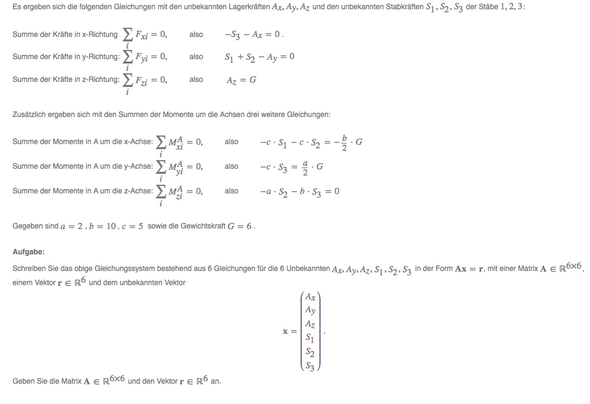 Wie bilde ich die Matrix aus den Gleichungen?