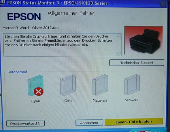 Die Anzeige meines Druckers - (Computer, Epson Stylus SX130, kompatible Druckerpatrone Epson)