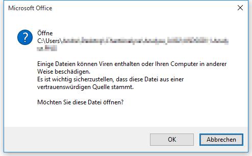 Die besagte Warnmeldung wenn ein Link in einem Dokument angeklickt wird. - (Excel, Word, Office 2013)