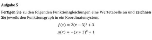 Wie die Wertetabelle?
