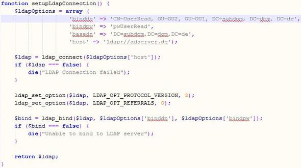 LDAP-Setup-Funktion - (PHP, Webservice, LDAP)