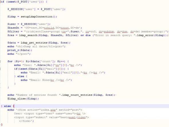 Auslesen von den Einträgen - (PHP, Webservice, LDAP)