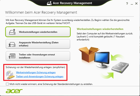 Acer Recovery Manager - (Windows 10, Betriebssystem, Backup)