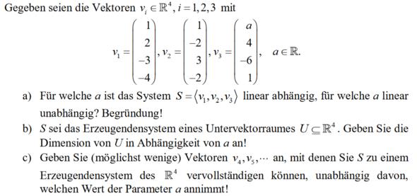wie finde ich einen linear unabhängigen Vektor?