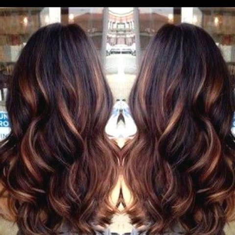 Lange dunkle Haare mit Highlights - (Haare, Haarfarbe, dunkle haare)