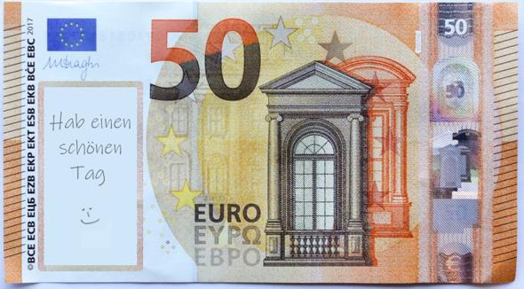 Wie findet ihr die Idee auf unseren Geldscheinen ein Fläche frei zu lassen um dort Nachrichten hinterlassen zu können?