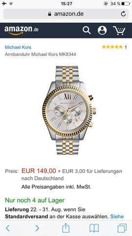 MK  - (Uhr, weiss, Gold)