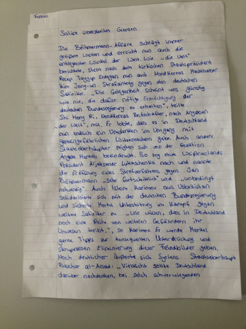 Seite 1 der Glosse - (Schule, deutsch, Grammatik)