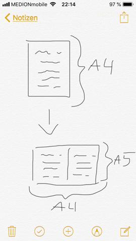 Wie formatiere ich eine A4 Seite auf zwei A5 Seiten?
