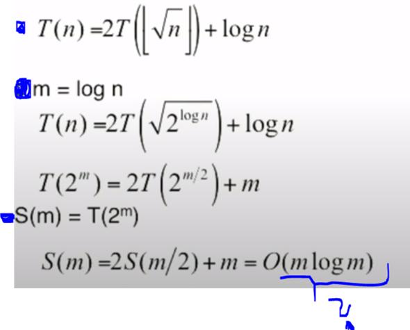 Wie formt man folgende Funktion zum O(m log m) um?