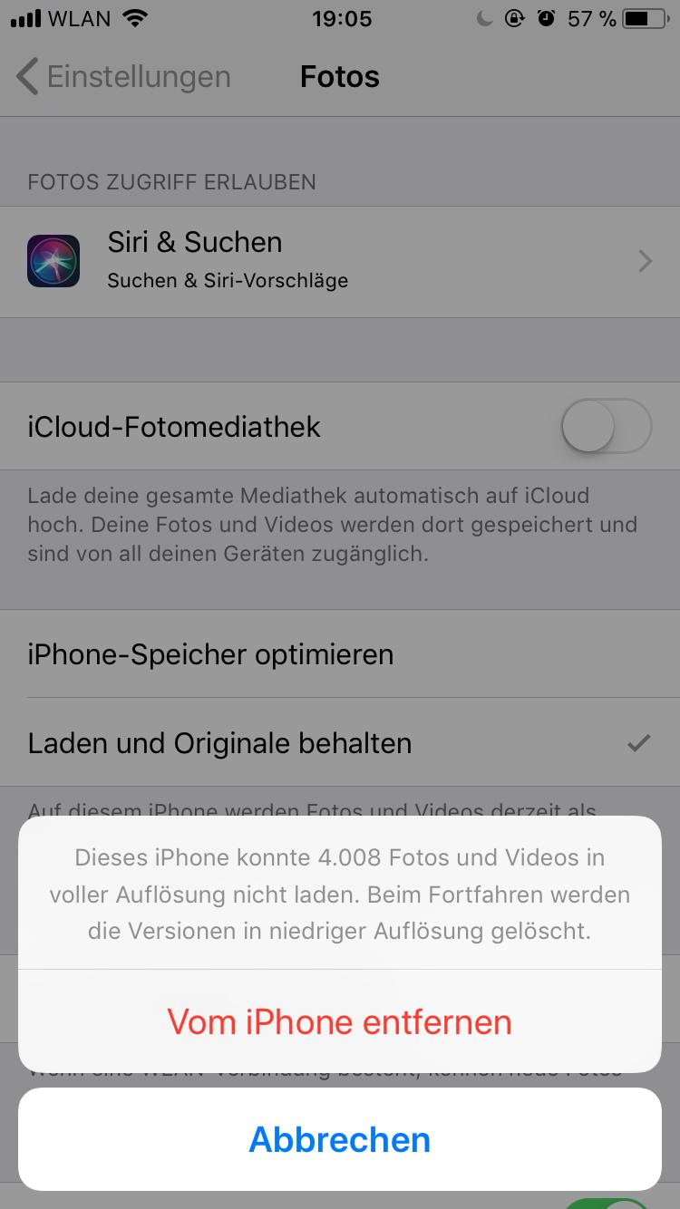 bilder von iphone löschen mit pc kein zugriff