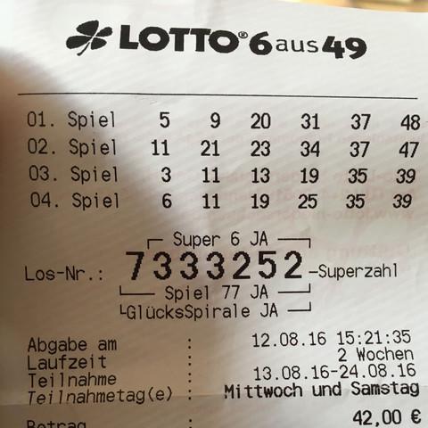 Lottoschein Superzahl