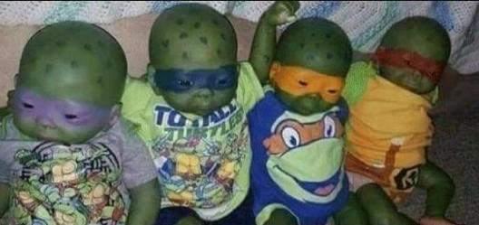 Wie gefällt euch das, Babys wie Ninja Turtle bemalt?