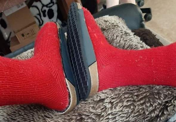 Wie gefällt euch diese Idee, Socken auf Sohle geklebt?