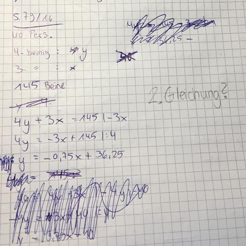 Lösungsansatz - (Mathe, Gleichsetzungsverfahren, Klasse8)