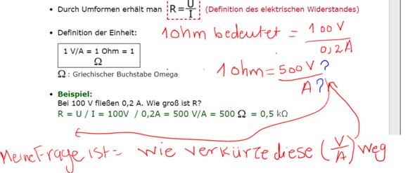 Wie geht es mit den Einheiten Volt, Ampère und Ohm?