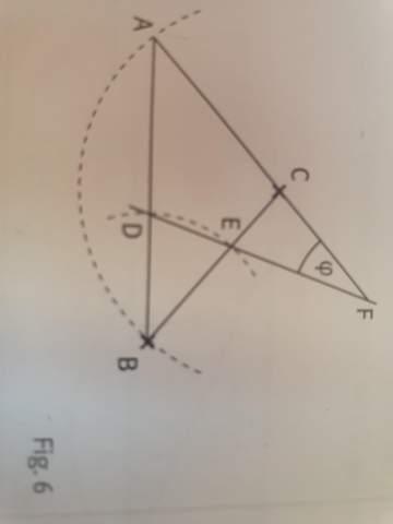 Wie groß sind die Innenwinkel des Dreiecks ABC in Fig.6, wenn phi=12° ist?