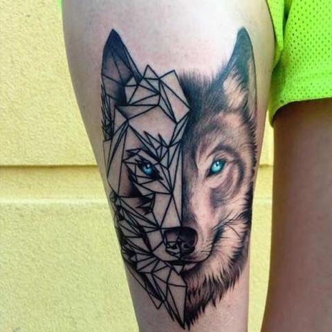 Wolf, tattoos, - (Haut, Tattoo)