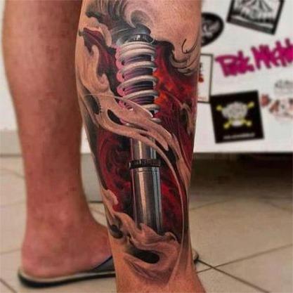 Kettenkranz mit Kette - (Tattoo, MotoCross, rechter Unterarm)