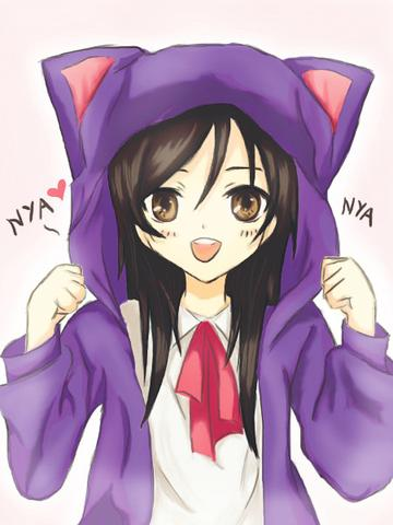Cat On Girls Head Cartoon