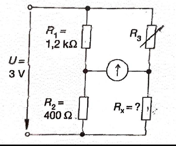 Wie hoch ist der Widerstand R x in der skizzierten Brückenschaltung, wenn die Brücke bei R3 = 800 ohm abgeglichen ist?