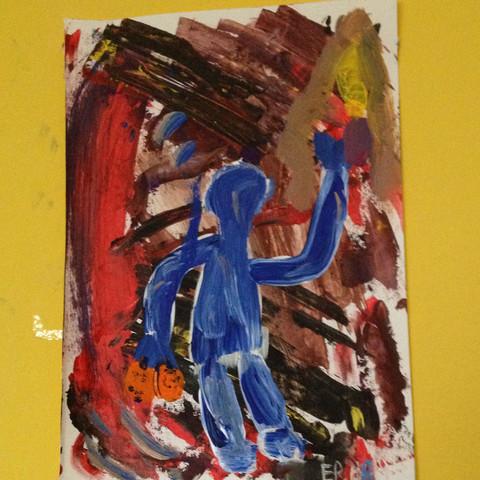 Titel : Junger Mann mit zwei Orangen , einem Messer und einem Tuch - (Farbe, Kunst, Ideen)