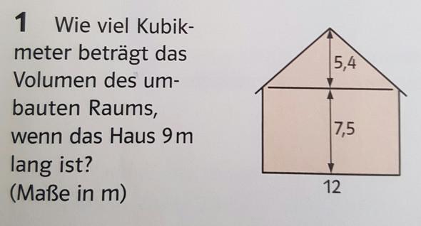wie kann ich bei dieser mathematik aufgabe das dach berechnen volumen. Black Bedroom Furniture Sets. Home Design Ideas