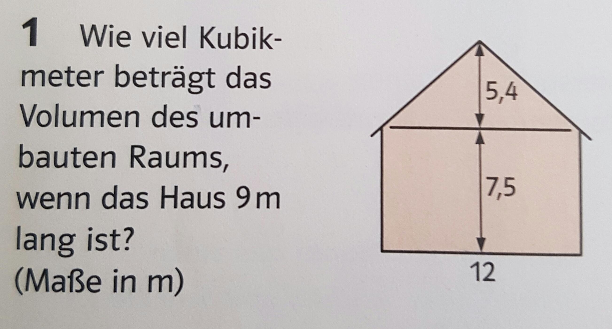 Wie Kann Ich Bei Dieser Mathematik Aufgabe Das Dach Berechnen? (Volumen)