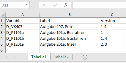 Tabelle 1 - (Excel, Office)