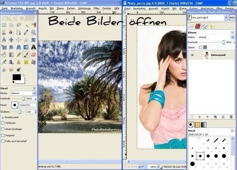 Wie kann ich bei GIMP2 zwei Bilder gleichzeitig öffnen?