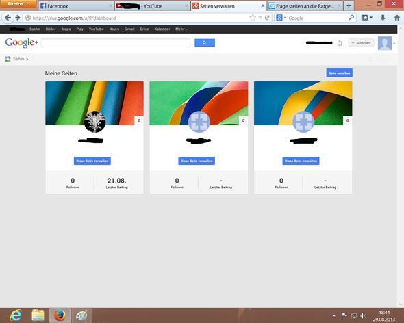 Die Seiten-Verwaltung - (Internet, Youtube, Google)