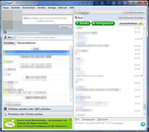Wie kann ich bei skype gesendete nachricht löschen? (siehe bild)