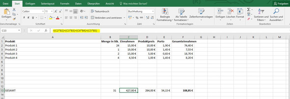 Formel - (Excel, Office, Tabellenkalkulation)
