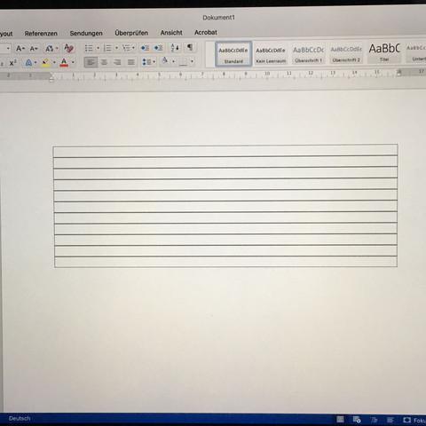 Hier sind mehrere Abschnitte. Also es ist keine Tabelle.  - (Internet, Mac, Word)