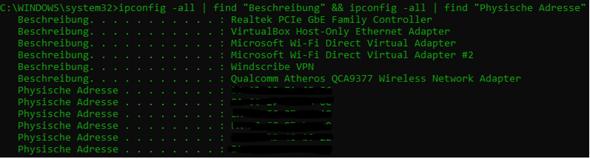 Wie kann ich eine bestimmte MAC-Adresse (zu einer Beschreibung) anzeigen lassen?