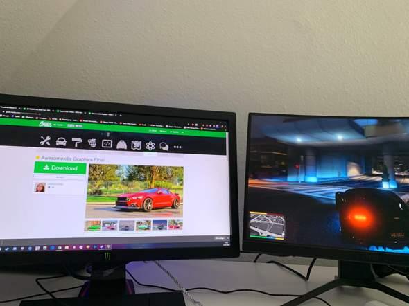 Wie kann ich einstellen das GTA auf 2 Monitoren ist nicht auf ein?