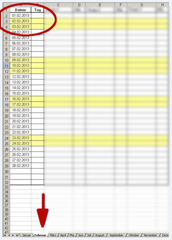 Wie kann ich in Excel einen Monatskalender mit Arbeitsblättern ...