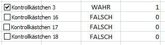 1. Bild - (Excel, Office, Kontrollkästchen)