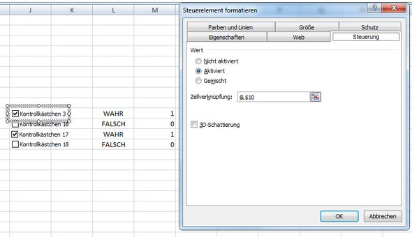 2. Bild - (Excel, Office, Kontrollkästchen)