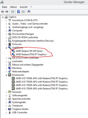Hier könnt ihr sie im Geräte Manager sehen. :) - (Grafikkarte, AMD, Prozessor mit Grafikeinheit)